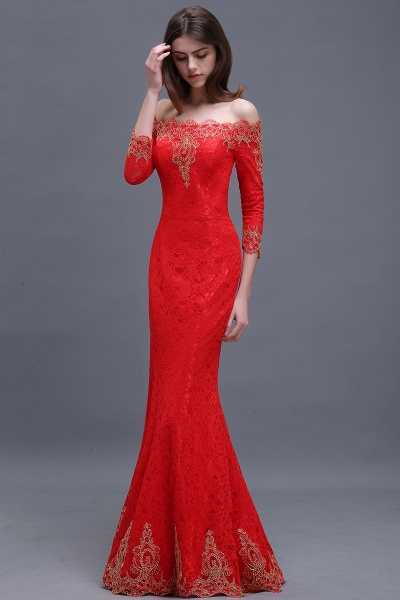 EMELIA | Mermaid Off-shoulder Floor-length Lace Appliques Prom Dresses_4