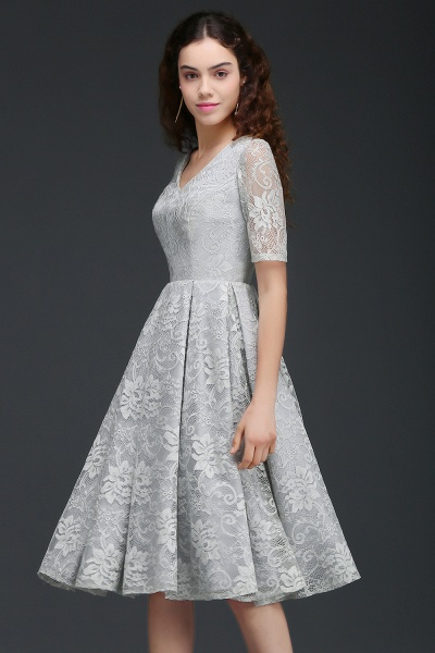 ALEXANDRA | A Line V Neck Lace Short Homecoming Dresses With Sleeves_1