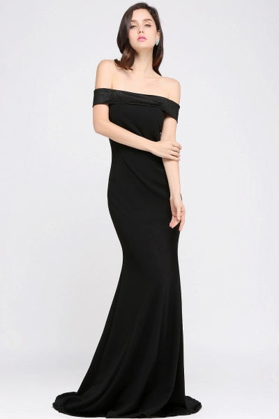 ARIYA | Mermaid Sweep Train Off The Shoulder Black Evening Dresses_3