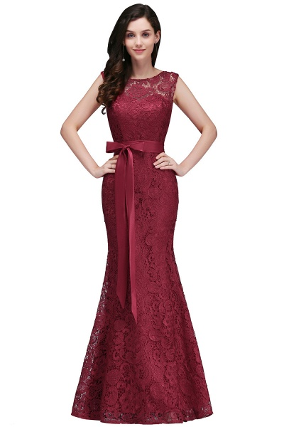 EDEN | Mermaid Sleeveless Floor-length Lace Prom Dresses with Ribbon Sash_2