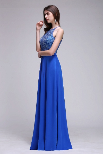 CALLIE | A-line Halter Neck Chiffon Royal Blue Prom Dresses with Sequins_7