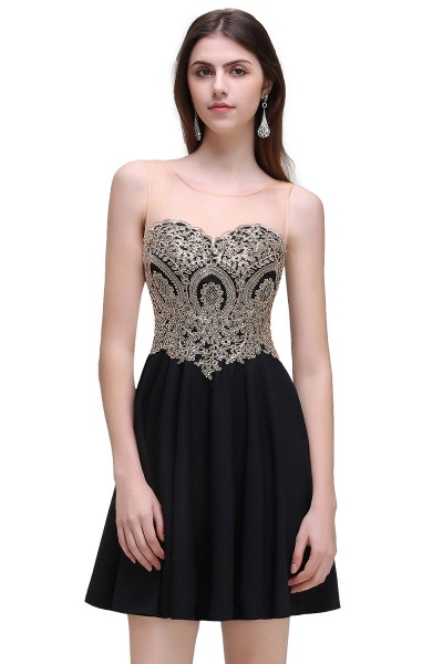 CAITLIN | A-line Short Chiffon Black Homecoming Dresses with Appliques_3