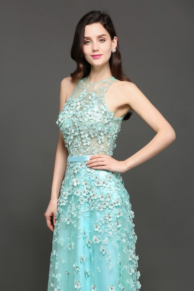 ARIAH | A-line Floor Length Tulle Amazing Evening Dresses with Flowers_5