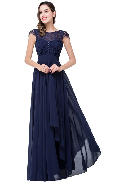 ELLEN   A-line Short Sleeves Chiffon Bridesmaid Dresses with Ribbon Bow_5