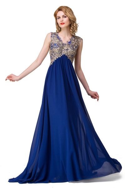 ESME | A-Line Floor-Length Sleeveless V-Neck Lace Appliques Prom Dresses_2