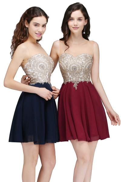 ALIANNA | Sheath Jewel Chiffon Short Homecoming Party Dresses With Applique_8