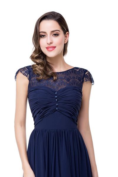 ELLEN   A-line Short Sleeves Chiffon Bridesmaid Dresses with Ribbon Bow_15
