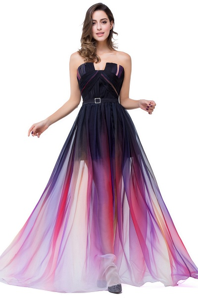 ELISABETH | A-line Floor-length Strapless Tulle Prom Dresses with Sash_1