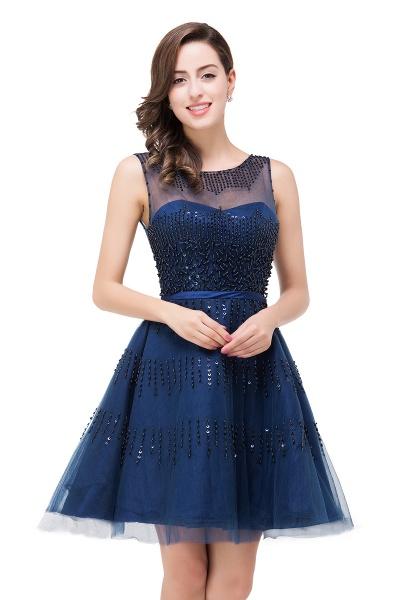 FATIMA | A-Line Sleeveless Crew Tulle Appliques Short Prom Dresses_7