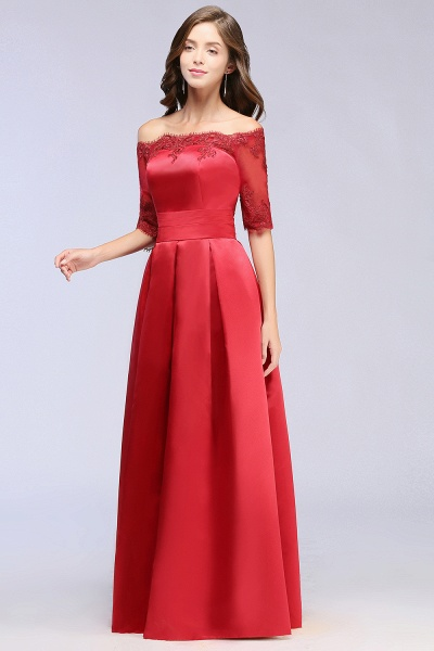 Elegant Off-the-shoulder Satin A-line Evening Dress_11