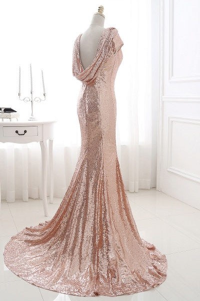 COURTNEY | Fit and Flare Sweep train Sequined Rosy Golden Prom Dress_8