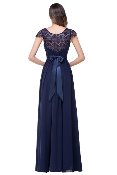 ELLEN   A-line Short Sleeves Chiffon Bridesmaid Dresses with Ribbon Bow_4