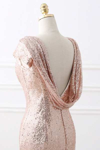 COURTNEY | Fit and Flare Sweep train Sequined Rosy Golden Prom Dress_9