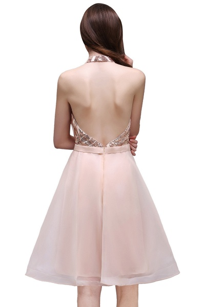 ALAYAH | A Line Halter Organza Short Homecoming Dresses With Sequins_3