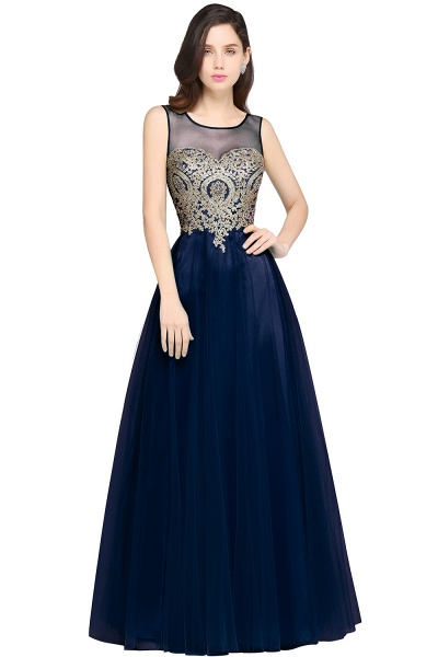 ARIA | A-line Scoop Tulle Gorgeous Evening Dresses with Appliques_5