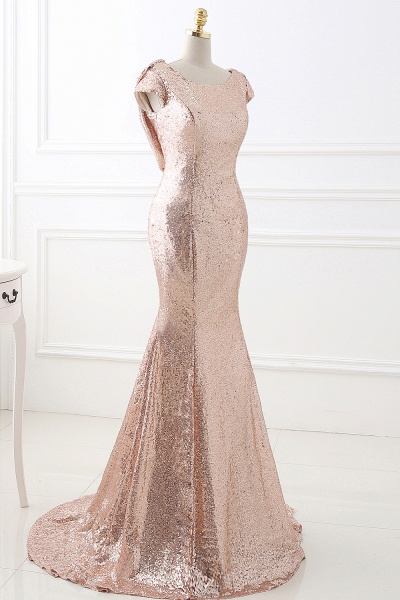 COURTNEY | Fit and Flare Sweep train Sequined Rosy Golden Prom Dress_4