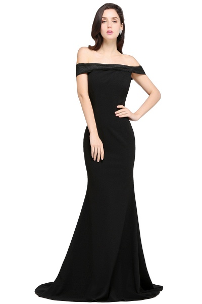 ARIYA | Mermaid Sweep Train Off The Shoulder Black Evening Dresses_1