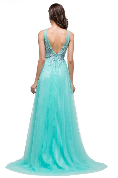 A-line Tulle Appliques Court Train Evening Dress_10