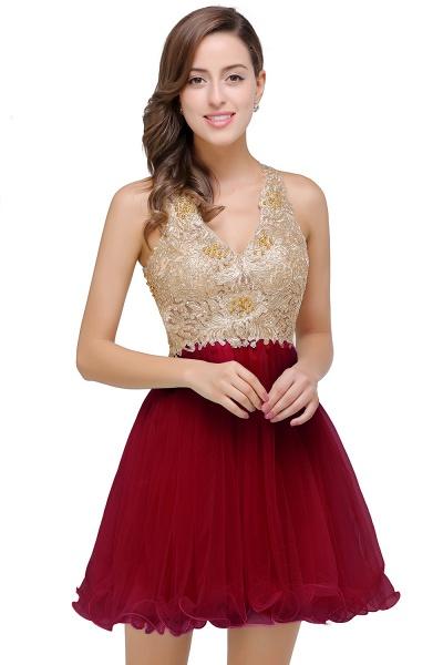 Short Tulle A-line V-Neck Appliques Sleeveless Prom Dresses_1