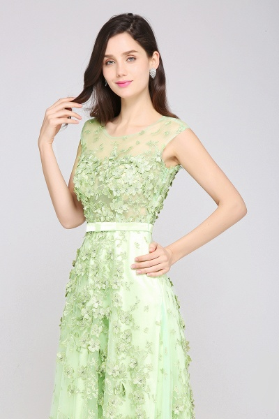 ARDEN | A-line Floor Length Tulle Green Prom Dresses with Appliques_4