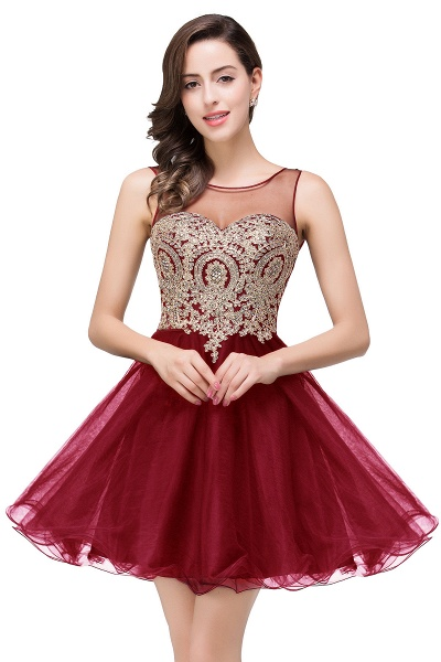 A-line Crew Short Sleeveless Appliques Prom Dress_1