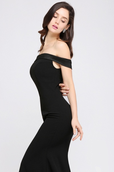 ARIYA | Mermaid Sweep Train Off The Shoulder Black Evening Dresses_5