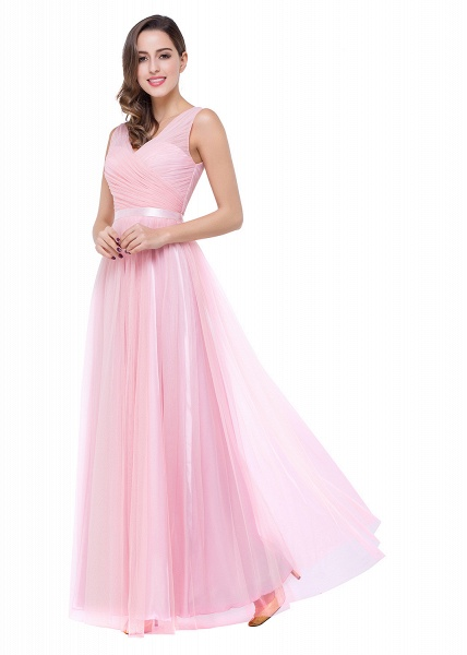 ELLIOT | A-line Sleeveless V-neck Floor-length Tulle Bridesmaid Dresses_12