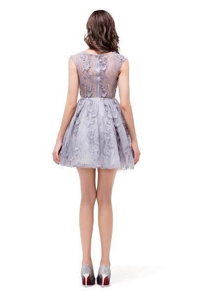 DANICA | A-Line Jewel Sleeveless Flower Applique Grey Prom Dresses_3