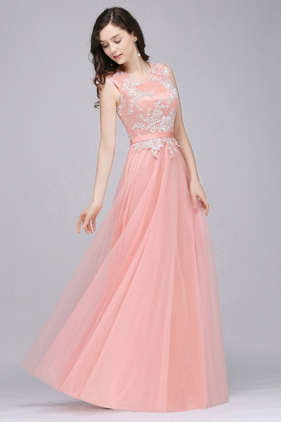 CARLY | A-line Jewel Neck Long Tulle Pink Prom Dresses with Sash_9