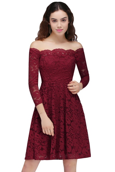 Lace A-Line Off-the-Shoulder Burgundy Short Homecoming Dress_1
