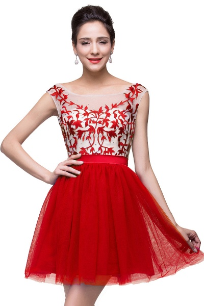 ELIZA | A-line Sleeveless Bateau Short Tulle Appliques Prom Dresses_1