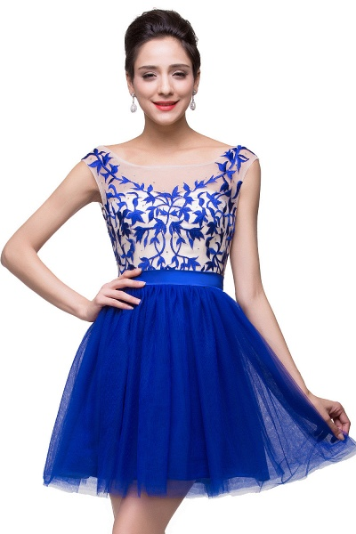 ELIZA | A-line Sleeveless Bateau Short Tulle Appliques Prom Dresses_5