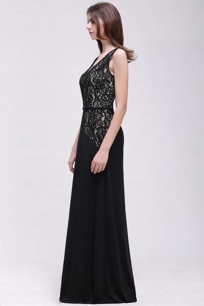 BRYANNA   A-line V-Neck Long Lace Black Prom Dresses with Sash_4