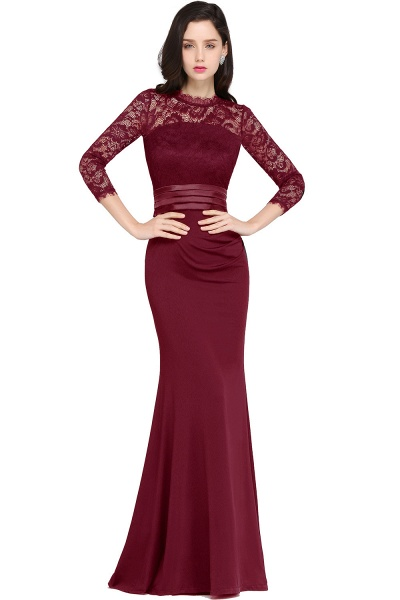 ARIANNA | Sheath High Neck Black Elegant Evening Dresses with Lace_2