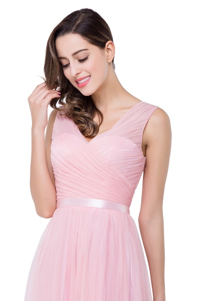ELLIOT | A-line Sleeveless V-neck Floor-length Tulle Bridesmaid Dresses_13