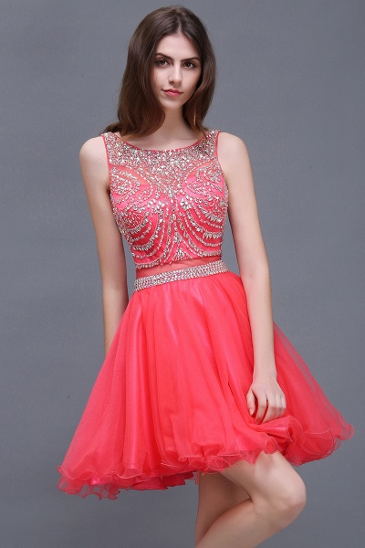 BIANCA | Puffy Straps Short Tulle Homecoming Dresses With Crystal_6