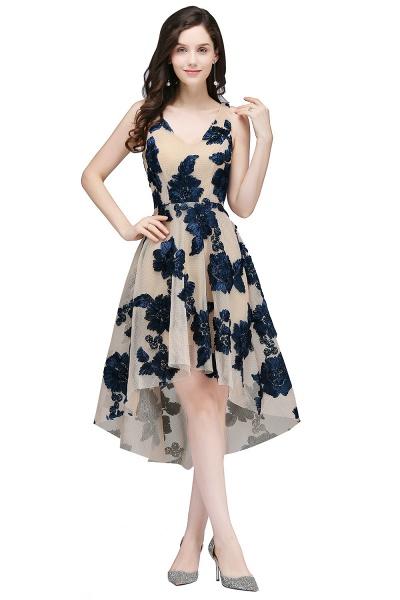 Short Appliques Tulle V Neck Prom Dresses_3