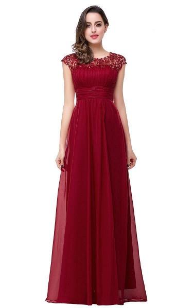 EMMELINE | A-Line Cap Sleeves Floor-Length Chiffon Prom Dresses_2