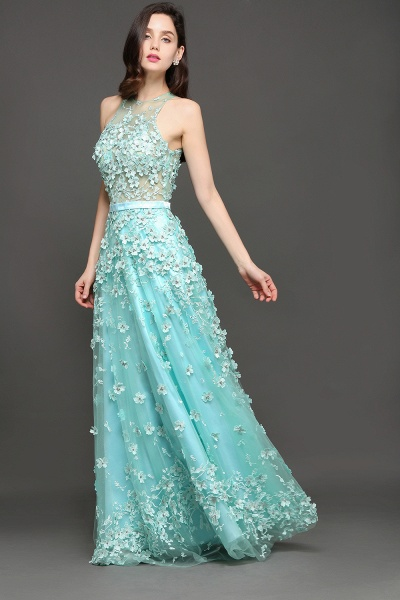 ARIAH | A-line Floor Length Tulle Amazing Evening Dresses with Flowers_7