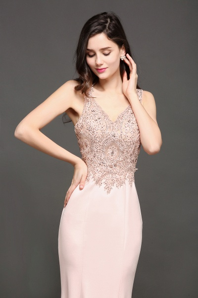 Modest V-neck Stretch Satin Mermaid Evening Dress_5