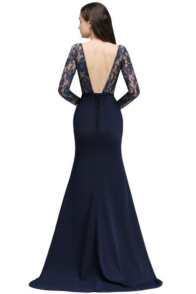 Long Sleeves Satin Mermaid Floor Length Bridesmaid Dress_5