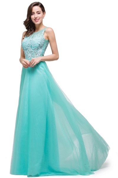A-line Tulle Appliques Court Train Evening Dress_12