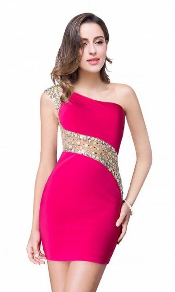ELLE | Mermaid One-shoulder Short Prom Dresses with Crystal Beadings_3