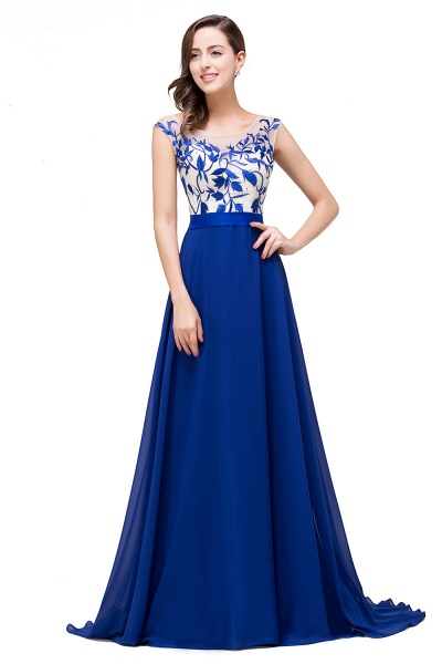 EMILIE | A-Line Floor-Length Sleeveless Chiffon Prom Dresses with Lace-Appliques_4