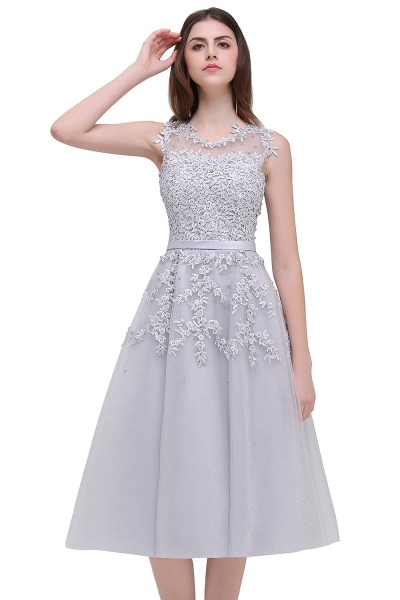 EMORY | A-Line Crew Tea Length Lace Appliques Short Prom Dresses_12