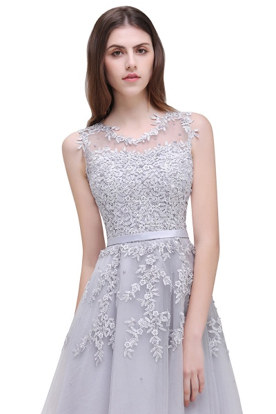 EMORY | A-Line Crew Tea Length Lace Appliques Short Prom Dresses_11