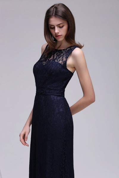 CHARLEY | Sheath Illusion Floor length Elegant Navy Blue Prom Dress_7