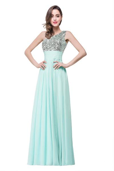 A-line Sequined Floor-length Chiffon Evening Dress_2