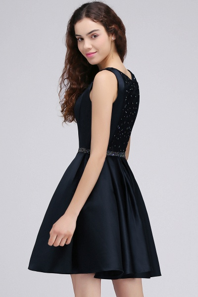 BRIANNA | A-Line Round Neck Short Dark Navy Homecoming Dresses With Crystal_5