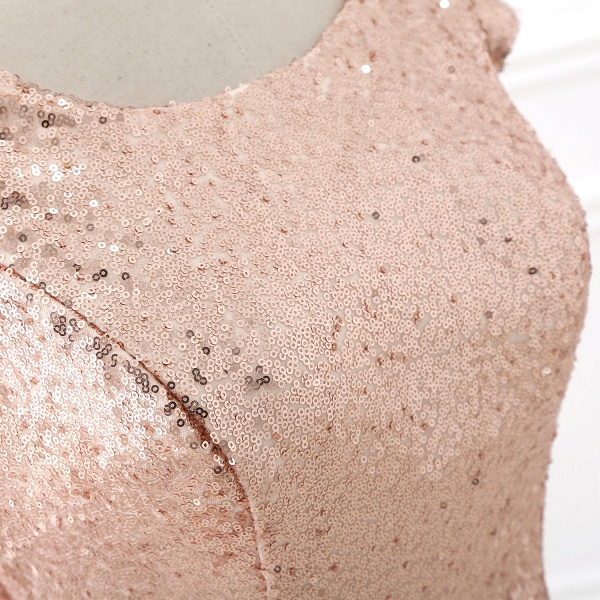 COURTNEY | Fit and Flare Sweep train Sequined Rosy Golden Prom Dress_6